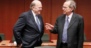 Minister for Finance Michael Noonan  and Italy's minister of  economy and finances Pier Carlo Padoan: the CDP proposal is still in a preliminary phase. Photograph: Olivier Hoslet/EPA