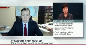 Robert E Kelly was speaking about the implications of the removal of South Korea's president from power on Friday on BBC World News.