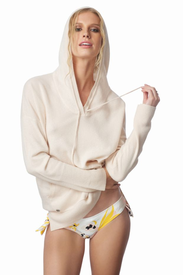 Oatmeal Hoodie €295, Lucy Nagle; bikini bottoms €130 Heidi Klein, Brown Thomas; earrings €59, Loulerie; rings €899-€1999, Loulerie