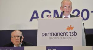 "Jeremy Masding and Alan Cook: Cook described his time at  Permanent TSB as a ""tumultuous journey"". Photograph: Alan Betson"