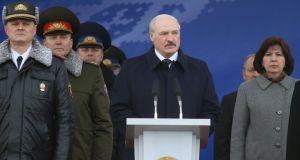 "Alexander Lukashenko: The president of  Belarus is facing a series of ""March of Angry Belarusians"" protests. Photograph: Maksim Guchek/EPA"