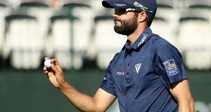 Adam Hadwin reacts after a birdie putt on the 17th green during the second round of the Valspar Championship. Photograph: Mike Lawrie/Getty Images