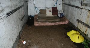 A handout photo issued by PSNI of the interior of a squalid shipping container where kidnapped cattle dealer Paul Gogan was held hostage. Photograph: PA