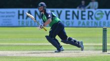 Paul Stirling raced to 49 off 20 balls before his dismissal as Ireland fell 28 runs short of Afghanistan's 233 in their third T20 international. Photograph: Rowland White/Inpho