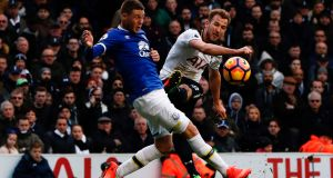 James McCarthy tackles Harry Kane during the Premier League game between Tottenham and Everton at White Hart Lane. Photograph:  Adrian Dennis/AFP/Getty Images