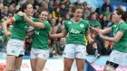 Hannah Tyrrell  (left) celebrates with team-mates after scoring Ireland's second try against Wales in Six Nations clash on Saturday. Photograph: Ian Cook/Inpho