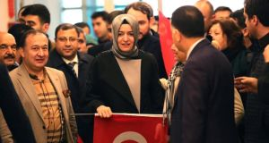 Turkish family minister Fatma Betul Sayan Kaya at Ataturk airport. She was expelled from the Netherlands at the weekend.  Photograph: Sedat Suna/EPA