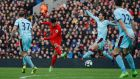 Emre Can's long range strike gave Liverpool all three points against Burnley. Photograph: Phil Noble/Reuters
