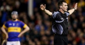Referee James Owens during the match between Tipperary and Kilkenny at Semple Stadium on Saturday. Photograph: Tommy Dickson/Inpho