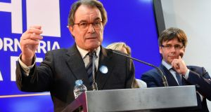 "Former premier of Catalonia Artur Mas gives a press conference  yesterday. ""We don't regret a thing. We are democrats and we are proud of having given the people a voice,"" he said. Photograph: Luis Genelluis/Getty Images"