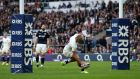 Jonathan Joseph was England's hat-trick hero against Scotland. Photograph: Andrew Matthews/PA