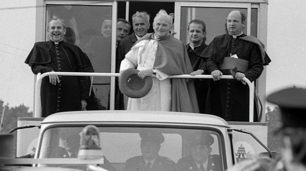 Pope John Paul II in Galway with Bishop Eamon Casey in 1979.