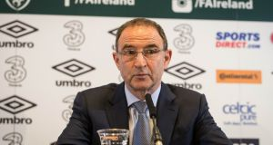 Republic Of Ireland manager Martin O'Neill at Monday's press conference to announce his squad. Photograph: Ryan Byrne/Inpho.