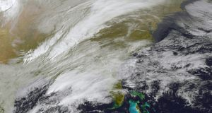 This satellite image shows storm activity in the eastern United States. Photograph: AFP/Getty Images