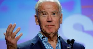 Former US vice-president Joe Biden speaks about the Biden Cancer Initiative at the at the Music Film Interactive Festival. Photograph: Brian Snyder/Reuters