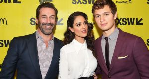 Actors Jon Hamm, Eiza Gonzalez, and Ansel Elgort at the Baby Driver premiere at SXSW. Photograph: Matt Winkelmeyer/Getty Images for SXSW