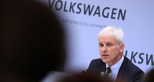 Matthias Mueller, chief executive officer of Volkswagen AG, said the company is more open than it used to be to a potential tie-up with Fiat Chrysler. Photograph: Krisztian Bocsi/Bloomberg