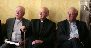 File image of Bishop John Kirby, Bishop Eamonn Casey and Fr Dermod McCarthy. File photograph: Collins Photos