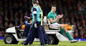 Tommy Bowe will miss the rest of the season after fracturing his ankle in Ireland's defeat to Wales. Photograph: Dan Sheridan/Inpho