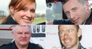 Dara Fitzpatrick, who was one of four crew on board the helicopter. The three crew still missing have  been named (L-R) as Mark Duffy (top right) ,  Paul Ormsby (bottom left) and Ciarán Smith  (bottom right).