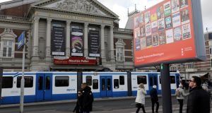 Dutch election campaign posters  in front of the Royal Concertgebouw on the Museum Square in Amsterdam.  Photograph: Michael Kooren/Reuters