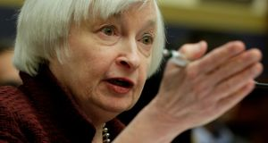 Federal Reserve chair Janet Yellen: the Fed is due to release its latest policy statement and updated economic forecasts on Wednesday.  Photograph: Yuri Gripas/Reuters