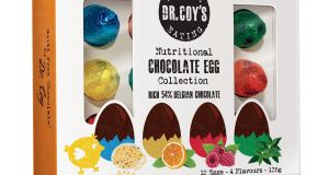 Dr Coy's 12 solid chocolate eggs