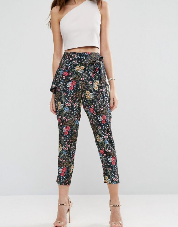 Black Floral Tie Waist Trousers, €37.33 from Asos