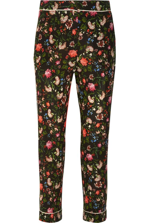 Giulia floral print silk trousers, €820 from Erdem