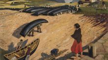 Currachs, Connemara by Harry Kernoff an oil-on-panel,  1932,