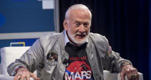 Buzz Aldrin at the SXSW festival: the second man on the moon  wants us to get our asses to Mars. Photograph: David Paul Morris/Bloomberg