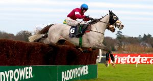 Disko with Jonatahan Moore on board during the Neville Hotels Novice Steeplechase at last year's  Leopardstown Festival. Photograph: James Crombie/Inpho mbie