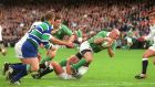 Keith Wood  scores a try as Ireland deny England a Grand Slam in 2001. Photograph: Lorraine O'Sullivan/Inpho