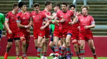 Glenstal celebrate scoring a try on their way to victory over Ardscoil  Rís in the Munster Schools senior semi-final at  Thomond Park. Photograph: Inpho
