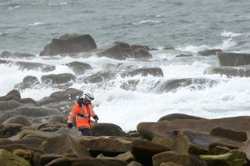 Air, sea and shore searches continue for the three crew missing from the Irish Coast Guard Sikorsky S-92 helicopter which crashed off the north Mayo coast. Photograph: Dara Mac Dónaill/The Irish Times