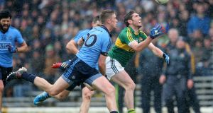 Kerry's Killian Young in action against Dublin's Shane Carty in the last league or championship game Dublin lost  – in Killarney in March 2015. Photograph: Cathal Noonan/Inpho