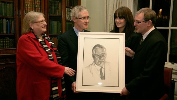The Leprosy Mission commissioned a portrait of Dr Vincent Barry to mark his discovery of the cure for leprosy. From left, Síle DeValera, Prof Hugh Brady, president of UCD, artist Sarah Tynan and Ken Gibson of the Leprosy Mission