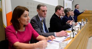Members of the PAC chaired by Sean Fleming,  from left Josepha Madigan Shane Cassells, Alan Farrell and Catherine Connolly on the examination of the NAMA sale of Project Eagle. Photograph: Cyril Byrne