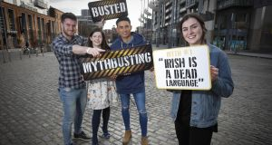 Dáire Ó Faogáin from Co Meath, Emma Ní Cheallacháin from Sligo, Síne Nic an Ailí of Conradh na Gaeilge and Ashley Farrell from Co Dublin at the Mythbuster launch in Dublin. Photograph: Conor McCabe
