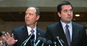 US House intelligence committee members Devin Nunes and Adam Schiff speak to the media about the committee's investigation into alleged Russian interference in the US presidential election, in Washington  on Wednesday. Photograph: Mark Wilson/Getty Images