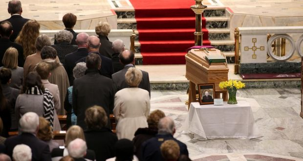 The remains of former Bishop of Galway Eamonn Casey in Galway Cathedral Wednesday night. Photograph: Joe O'Shaughnessy