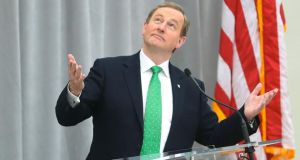 Taoiseach Enda Kenny delivers a speech to business leaders at a lunch at the American Institute for Peace in Washington on Wednesday. Photograph: Niall Carson/PA Wire