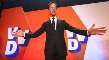 Dutch Prime Minister Mark Rutte during election night in The Hague, The Netherlands, 15 March 2017. Rutte's center-right VVD party has won the most seats in the parliamentary elections . EPA/JERRY LAMPEN