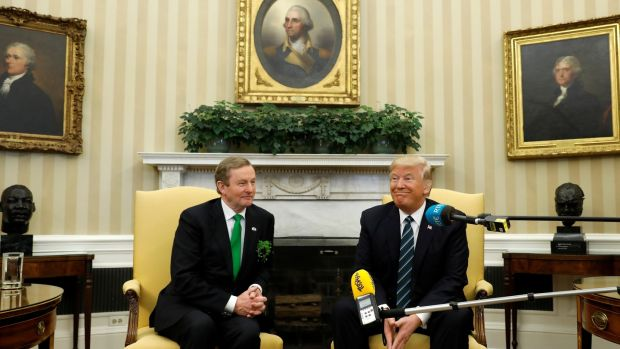 US president Donald Trump meets Taoiseach Enda Kenny in the Oval Office of the White House. Photograph: Kevin Lamarque/Reuters.