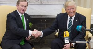 US president Donald Trump and Taoiseach Enda Kenny shake hands  during a meeting in the Oval Office of the White House in Washington DC. Photograph:Saul Loeb/AFP/Getty Images.