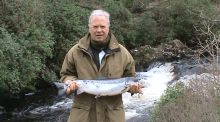 Geoffrey Fitzjohn with first salmon of 2017 from Kylemore Abbey Fishery at Tullywee Bridge Pool, caught on a Black Shrimp size 8