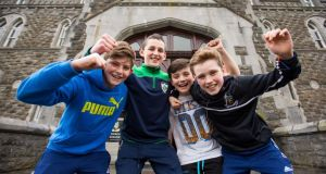 Cistercian College students  Niall O'Sullivan, Co Tipperary, Peter Collins, Co Tipperary, John Nolan, Co Laois and Calum MacEntire, Co Longford celebrate the news that their school is to remain open. Photograph: Oisin McHugh