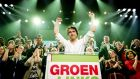 Jesse Klaver of GroenLinks party during election night in Amsterdam. Photograph: Robin Van Lonkhuijsen/EPA