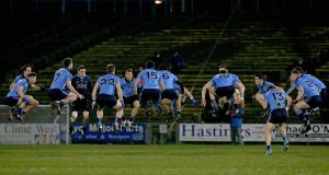 Dublin players go through their warm-up routine before the league match against Mayo at MacHale Park. Photograph: Donall Farmer/Inpho.