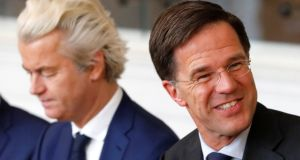 Dutch far-right politician Geert Wilders (left) of the PVV party and Dutch prime minister Mark Rutte  of the VVD Liberal party: victory of latter was widely welcomed in Europe. Photograph: Yves Herman/Reuters